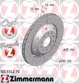 Вентильований гальмівний диск з перфорацією OTTO ZIMMERMANN 100.3342.70 малюнок 0