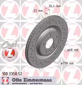 Вентильований гальмівний диск OTTO ZIMMERMANN 100.3358.52.