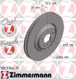 Вентильований гальмівний диск OTTO ZIMMERMANN 100.3364.75 малюнок 0