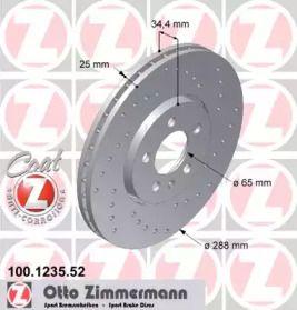Перфорированный тормозной диск 'OTTO ZIMMERMANN 100.1235.52'.