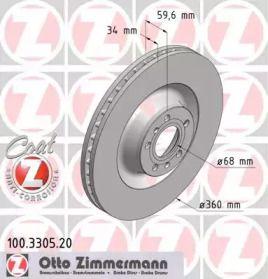 Вентилируемый тормозной диск OTTO ZIMMERMANN 100.3305.20.