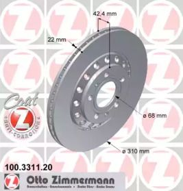 Перфорированный тормозной диск на VOLKSWAGEN PHAETON 'OTTO ZIMMERMANN 100.3311.20'.