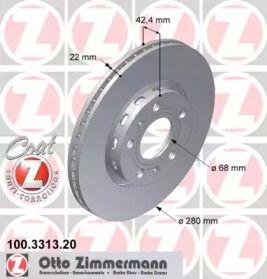 Перфорированный тормозной диск на Фольксваген Фаетон 'OTTO ZIMMERMANN 100.3313.20'.