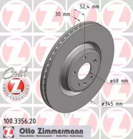 Вентилируемый тормозной диск на Порше Макан 'OTTO ZIMMERMANN 100.3356.20'.