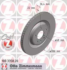 Вентилируемый тормозной диск на Порше Макан 'OTTO ZIMMERMANN 100.3358.20'.