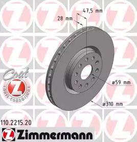 Вентильований гальмівний диск OTTO ZIMMERMANN 110.2215.20 малюнок 0