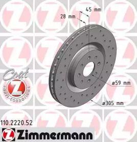 Вентильований гальмівний диск з перфорацією OTTO ZIMMERMANN 110.2220.52 малюнок 0