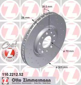 Вентилируемый тормозной диск с перфорацией на Альфа Ромео Брера 'OTTO ZIMMERMANN 110.2212.52'.