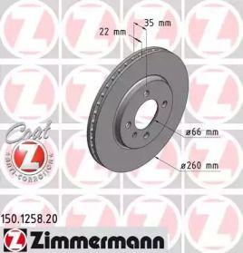 Вентилируемый тормозной диск на BMW Z1 'OTTO ZIMMERMANN 150.1258.20'.