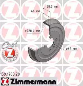 Тормозной барабан 'OTTO ZIMMERMANN 150.1703.20'.
