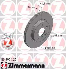 Вентилируемый тормозной диск на BMW I3 'OTTO ZIMMERMANN 150.2924.20'.