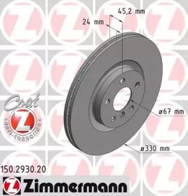 Вентилируемый тормозной диск на Мини Каутриман 'OTTO ZIMMERMANN 150.2930.20'.