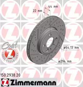 Вентилируемый тормозной диск с насечками С перфорацией на Мини Клубван 'OTTO ZIMMERMANN 150.2938.20'.