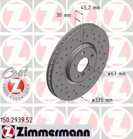 Вентильований гальмівний диск з перфорацією OTTO ZIMMERMANN 150.2939.52 малюнок 0