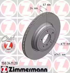 Перфорований гальмівний диск OTTO ZIMMERMANN 150.3411.20.