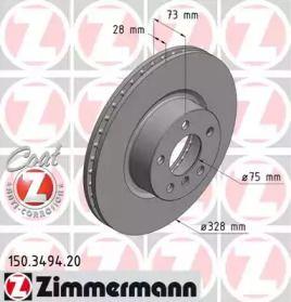 Вентилируемый тормозной диск на BMW X4 'OTTO ZIMMERMANN 150.3494.20'.