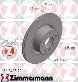 Вентилируемый тормозной диск на БМВ Х4 'OTTO ZIMMERMANN 150.3495.20'.
