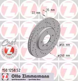Вентилируемый тормозной диск с перфорацией на БМВ З1 'OTTO ZIMMERMANN 150.1258.52'.