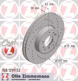 Вентилируемый передний тормозной диск с перфорацией 'OTTO ZIMMERMANN 150.1297.52'.