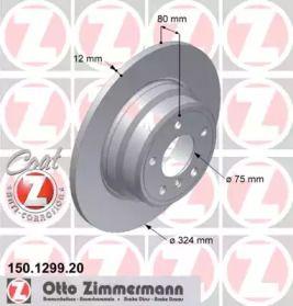 Тормозной диск на BMW X5 'OTTO ZIMMERMANN 150.1299.20'.