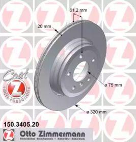 Перфорированный тормозной диск на BMW 6 'OTTO ZIMMERMANN 150.3405.20'.