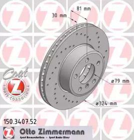 Вентильований перфорований гальмівний диск 'OTTO ZIMMERMANN 150.3407.52'.