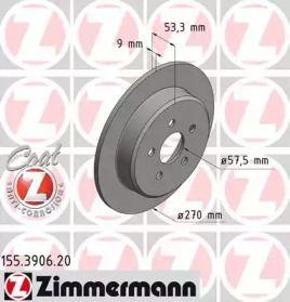 Тормозной диск на CHRYSLER NEON 'OTTO ZIMMERMANN 155.3906.20'.