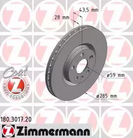 Вентилируемый тормозной диск на PEUGEOT 807 'OTTO ZIMMERMANN 180.3017.20'.