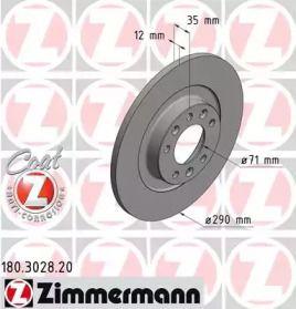 Тормозной диск на CITROEN SPACETOURER 'OTTO ZIMMERMANN 180.3028.20'.