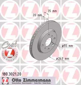 Перфорированный тормозной диск на CITROEN C1 'OTTO ZIMMERMANN 180.3021.20'.