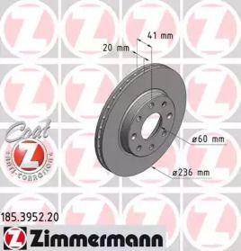Вентилируемый тормозной диск 'OTTO ZIMMERMANN 185.3952.20'.