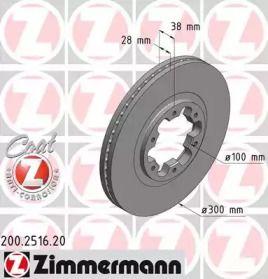 Вентилируемый тормозной диск на INFINITI QX4 'OTTO ZIMMERMANN 200.2516.20'.