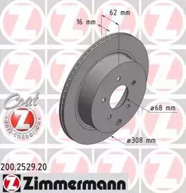 Вентилируемый тормозной диск на INFINITI FX 'OTTO ZIMMERMANN 200.2529.20'.