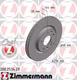 Вентилируемый тормозной диск на Рено Каджар 'OTTO ZIMMERMANN 200.2534.20'.