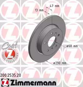 Тормозной диск на Рено Каджар 'OTTO ZIMMERMANN 200.2535.20'.