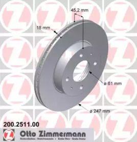 Вентильований гальмівний диск OTTO ZIMMERMANN 200.2511.00 малюнок 0