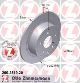 Тормозной диск на Ниссан Пульсар 'OTTO ZIMMERMANN 200.2519.20'.