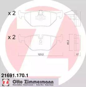 Тормозные колодки 'OTTO ZIMMERMANN 21691.170.1'.