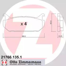 Гальмівні колодки OTTO ZIMMERMANN 21766.135.1 малюнок 0