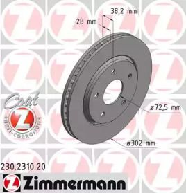 Перфорированный тормозной диск на DODGE GRAND CARAVAN 'OTTO ZIMMERMANN 230.2310.20'.