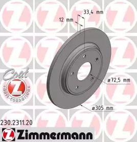 Тормозной диск на VOLKSWAGEN ROUTAN 'OTTO ZIMMERMANN 230.2311.20'.