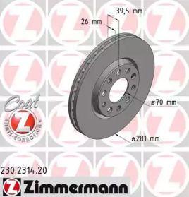 Вентилируемый тормозной диск на JEEP RENEGADE 'OTTO ZIMMERMANN 230.2314.20'.