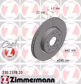 Вентилируемый тормозной диск на Фиат Седичи 'OTTO ZIMMERMANN 230.2378.20'.