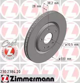Вентилируемый тормозной диск на DODGE GRAND CARAVAN 'OTTO ZIMMERMANN 230.2384.20'.