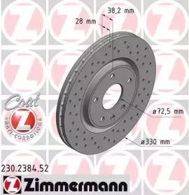 Вентилируемый тормозной диск с перфорацией на DODGE GRAND CARAVAN 'OTTO ZIMMERMANN 230.2384.52'.