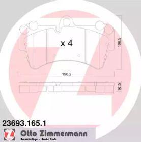 Гальмівні колодки 'OTTO ZIMMERMANN 23693.165.1'.