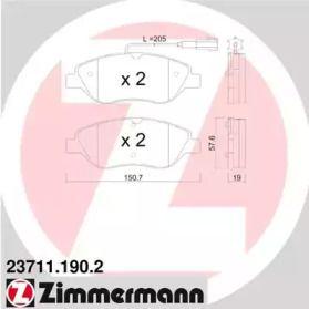 Гальмівні колодки OTTO ZIMMERMANN 23711.190.2 малюнок 0
