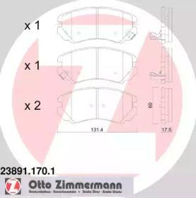 Гальмівні колодки OTTO ZIMMERMANN 23891.170.1.