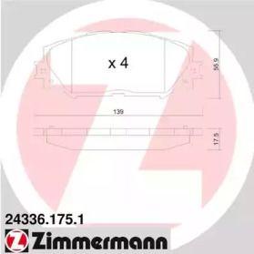 Гальмівні колодки OTTO ZIMMERMANN 24336.175.1 малюнок 0