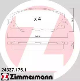 Гальмівні колодки OTTO ZIMMERMANN 24337.175.1 малюнок 0